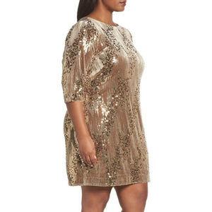Eliza J Sequin Sheath Dress TAN Size 20W